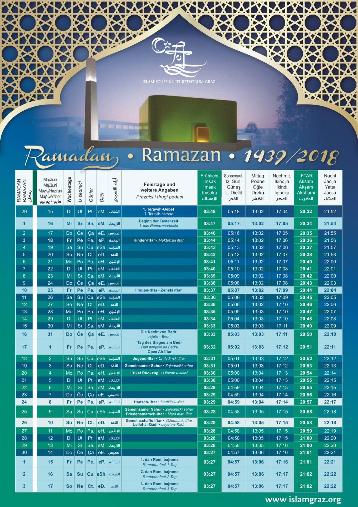Ramadan Gebetszeiten 2018