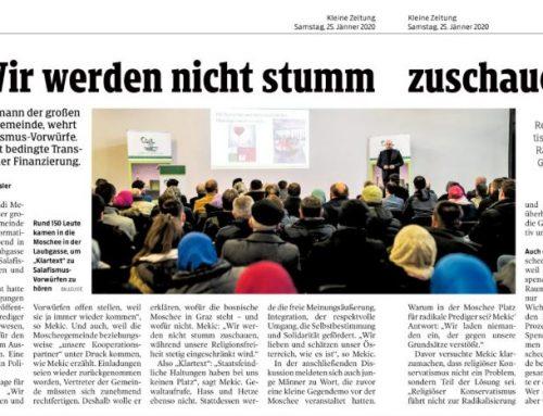 """Kleine Zeitung – 25.01.2020: """"Wir werden nicht stumm zuschauen, während unsere Religionsfreiheit stetig eingeschränkt wird."""""""