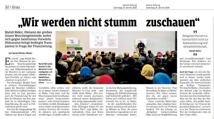 Zeitungsartikel vom 25. Jänner 2020 der Kleinen Zeitung zum Thema Moschee