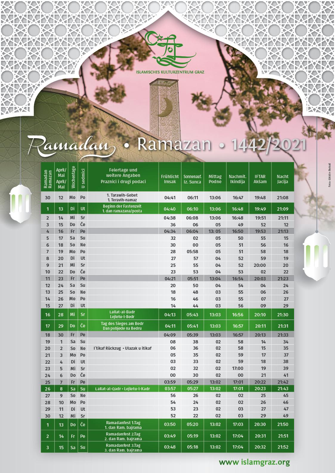 Ramadan Gebetszeiten Ramdanprogramm
